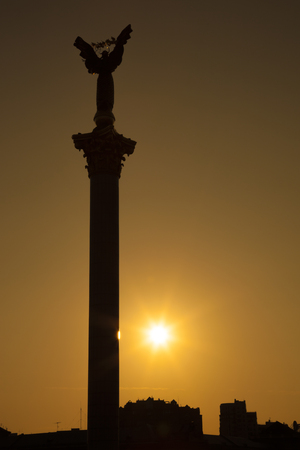 Statue of Independence in Maidan Nezalezhnosti (Independence square) during sunset, Kyiv, Ukraine
