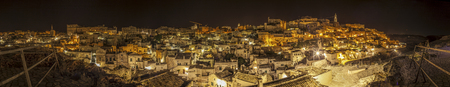 nocturnal: Panoramic nocturnal view of Matera, Italy.