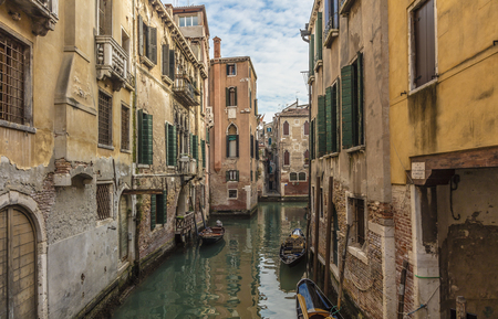 Canal in Venice in a cloudy day Banco de Imagens