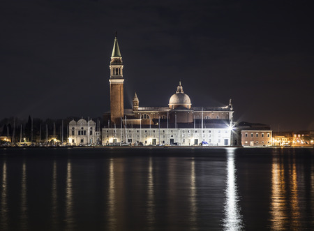 Nocturnal view of St Georges Church from Venice Banco de Imagens