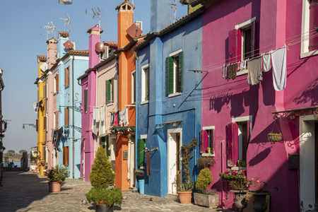 Typical colored house in Burano, a little town in the Venetian lagoon