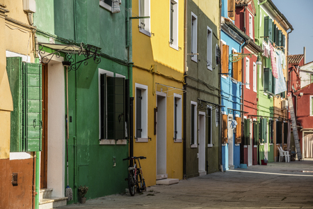 Typical colored houses in Burano, a little town in the Venetian lagoon