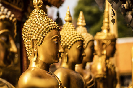 Detail of some golden Buddha statue at Doi Suthep Temple (Chiang Mai - Thailand)