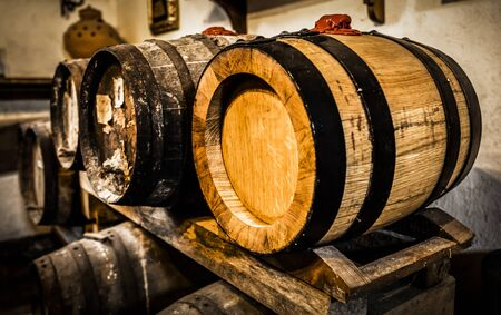 Wine barrels in a typical cellar Standard-Bild