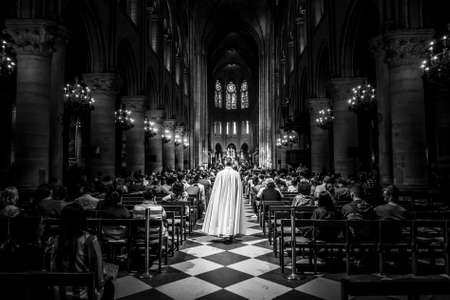 Paris, France - June 1, 2018: inside the Notre Dame Cathedral Editorial