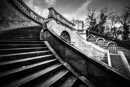 Trieste, Italy, December 30, 2018 - Black and white photo of the Scala dei Giganti Editorial
