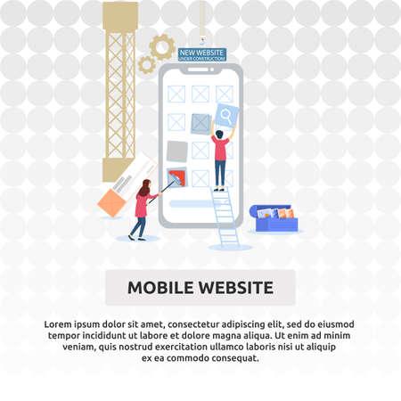 Mobile Website - Illustration Design Vektorové ilustrace