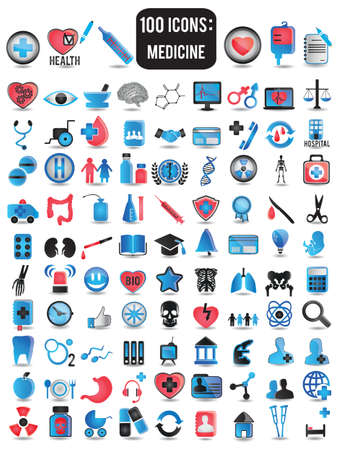 medical computer: 100 detailed icons for medicine - vector illustration Illustration