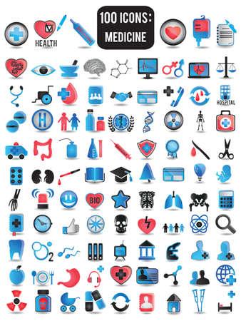 100 gedetailleerde pictogrammen voor de geneeskunde - vector illustratie Stock Illustratie