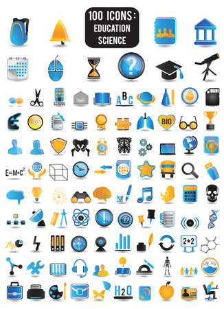 100 detailed icons of education and science - vector icons Illustration