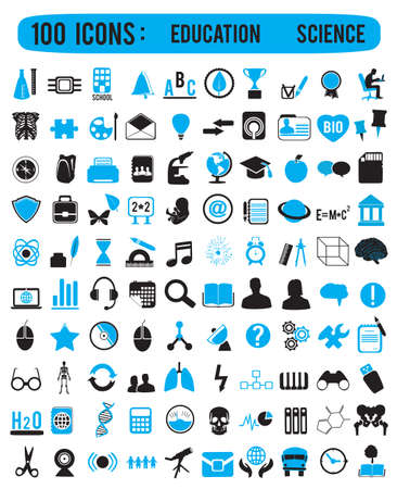 academic symbol: 100 icons for education science - vector icons Illustration