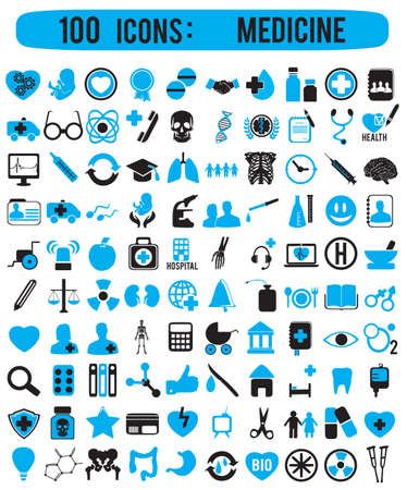 medical computer: 100 icons for medicine - vector icons Illustration