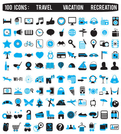 hand set: 100 icons for travel vacation recreation - vector icon