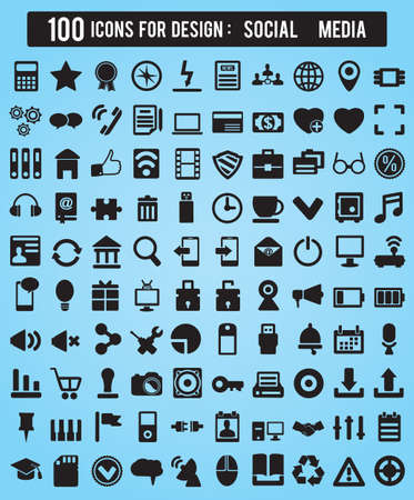 web icons: 100 Icons For Web and Design Elements - vector icons Illustration
