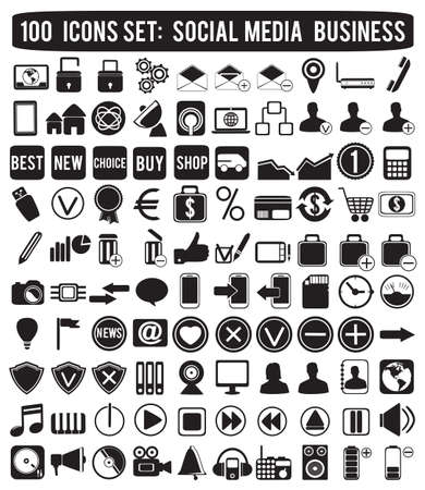 social media icons - vector icons Stock Vector - 16566907