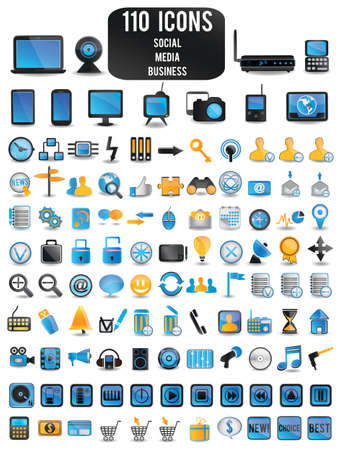 100 detailed colorful social media icons - vector illustration Stock Vector - 16566947