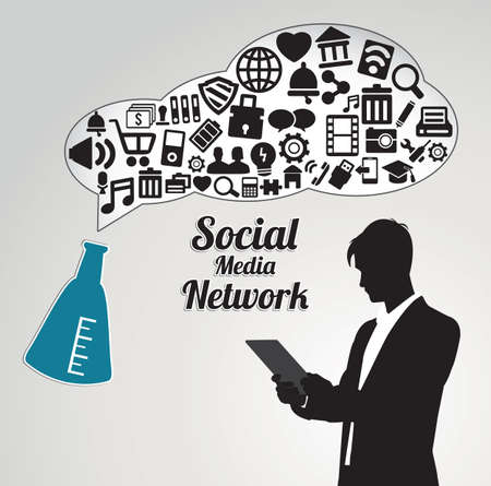 Abstract concept of social media network with businessman - vector illustration Stock Vector - 16632919