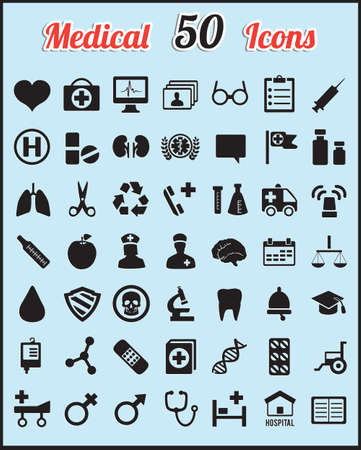 vector medical: Set of 50 medical icons for design - vector icons