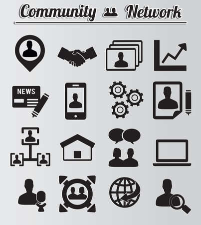 Set of network and community icons - vector icons Vector