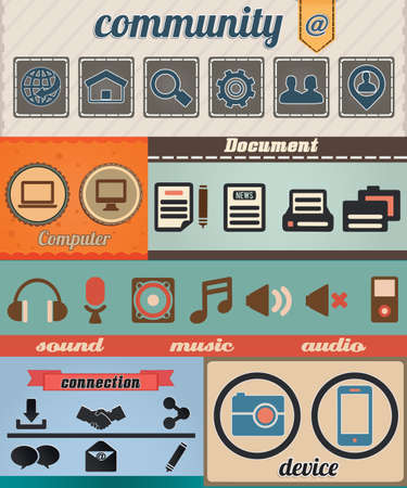 Set of retro social media icon with vintage background - vector illustration Stock Vector - 16632992