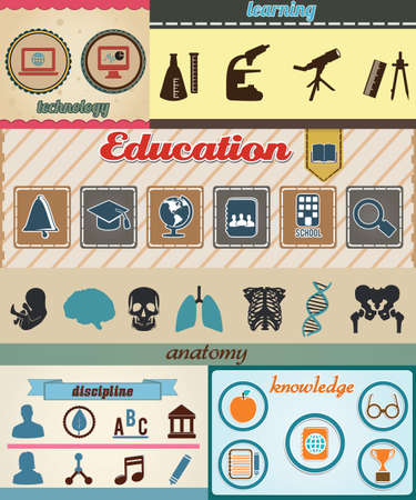 searh: Set of retro education icons with vintage background - vector illustration