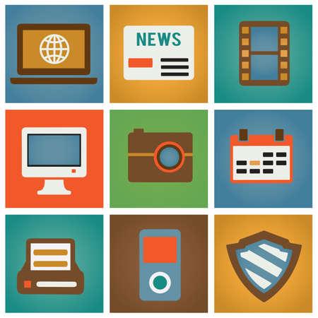 Retro social media icons for design - vector icons Stock Vector - 16632879
