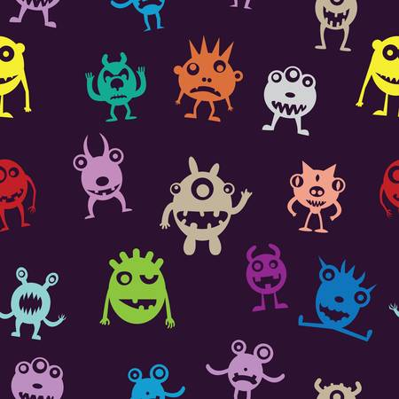 microorganisms: Seamless pattern of funny monsters - vector illustration