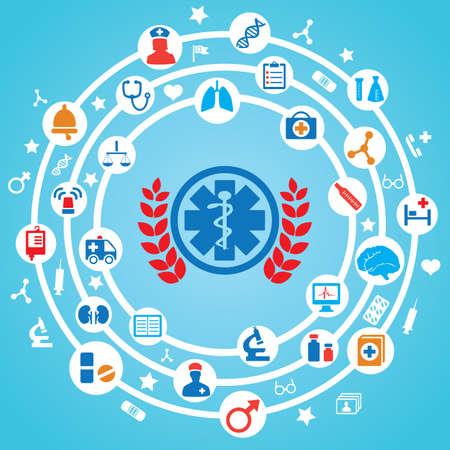 vida social: Concepto abstracto de la medicina con emblema - ilustración vectorial