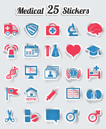 vector medical: Medical stickers - part 2 - vector stickers