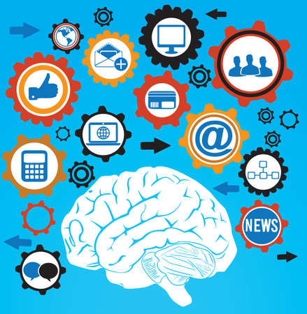 human brain and cog of social media - vector illustration