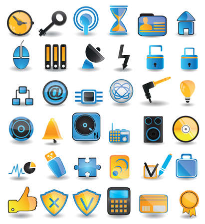 set social media icons - vector icons Stock Vector - 16633036