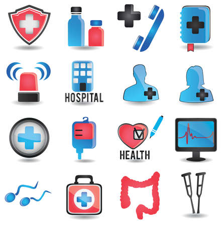 crutches: Set of medical icons - part 1 - vector icons