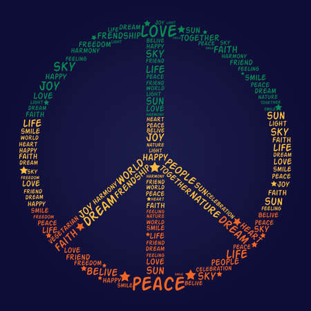 Vector peace symbol made of words - vector illustration Vector