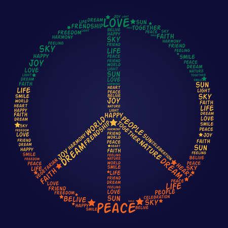 slogan: Vector s�mbolo de paz hecho de las palabras - ilustraci�n vectorial Vectores