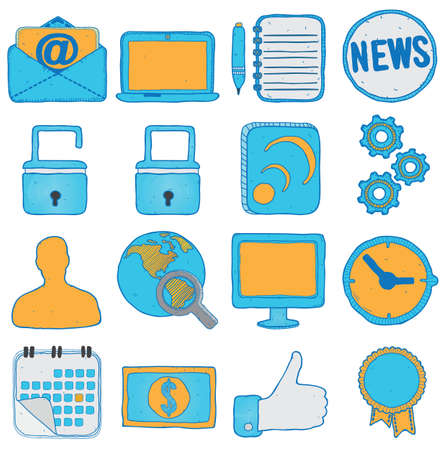 Set of hand drawn social media and business icons - vector icons Stock Vector - 16633035