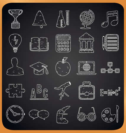 teacher and student: Education hand-drawn icons on blackboard - vector illustration