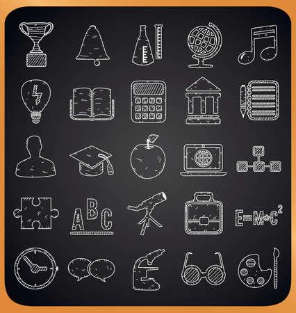 Education hand-drawn icons on blackboard - vector illustration