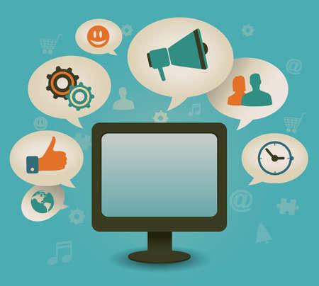 Concepto de la vendimia de los medios sociales - ilustración vectorial Ilustración de vector