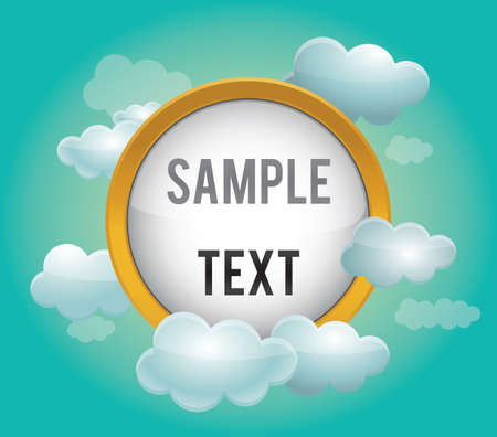 representational: Presentation template with clouds - vector illustration Illustration