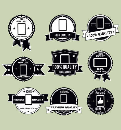 consume: labels for tablet pc - vector illustration