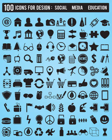 Set 100 various icons for design - vector icons Stock Vector - 16632997