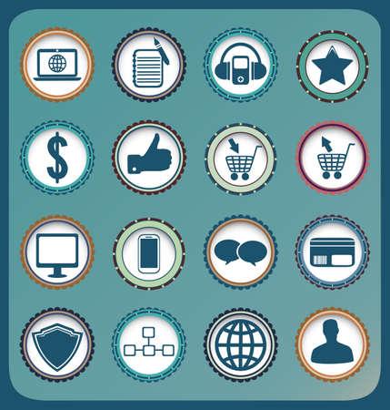 feedback sticker: Set of vintage business and social media icons - vector illustration Illustration