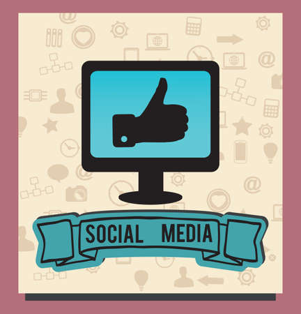 Concept of socilal media with background icons - vector illustration Stock Vector - 16632939