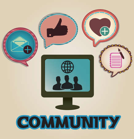 Vintage concept of community with bubbles - vector illustration Vector