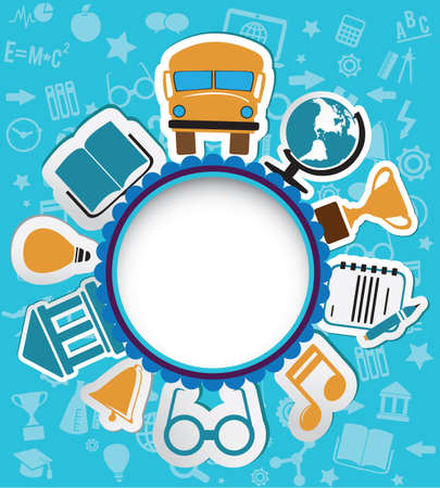 notebook icon: Background with education icons for text or main icon Cover of notebook - vector iilustration
