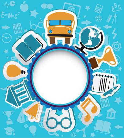 notebook icon: Sfondo con le icone di istruzione per il testo o il coperchio icona principale del notebook - iilustration vettore Vettoriali