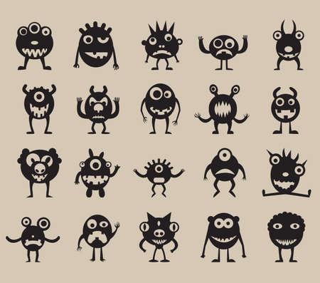 anger kid: Set di sagome di mostri - illustrazione vettoriale Vettoriali