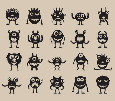 Set of monsters silhouettes  - vector illustration Vector