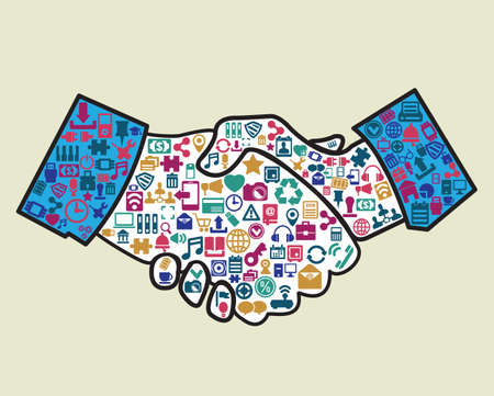 approve icon: Abstract handshake of businessmen - vector illustration Illustration