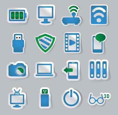 marketting: Set of movie stickers - vector illustration